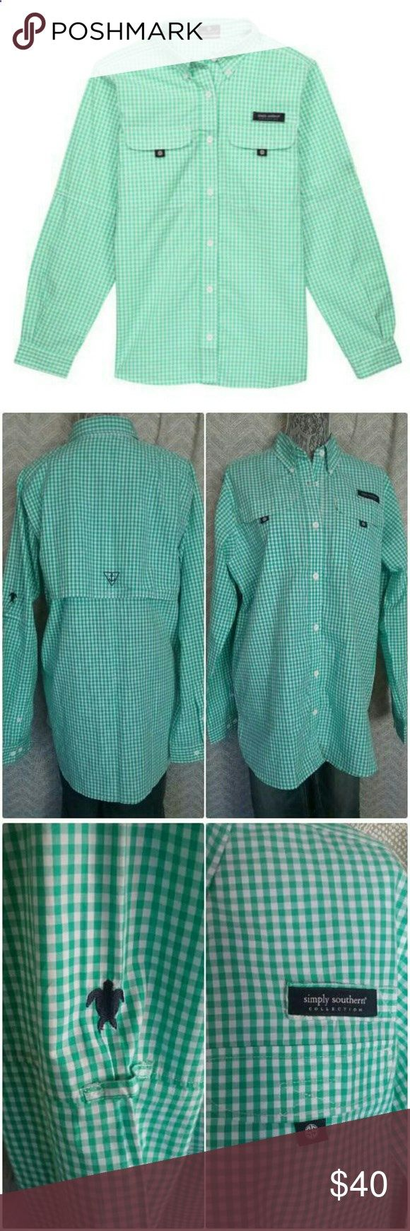 Fishing Shirts - Simply Southern Fishing Shirt XL New with tags Simply Southern Fishing Shirt with button down collar  vented back. Aqua  White gingham check with embroidered logos and double pockets on front, size XL Simply Southern Tops