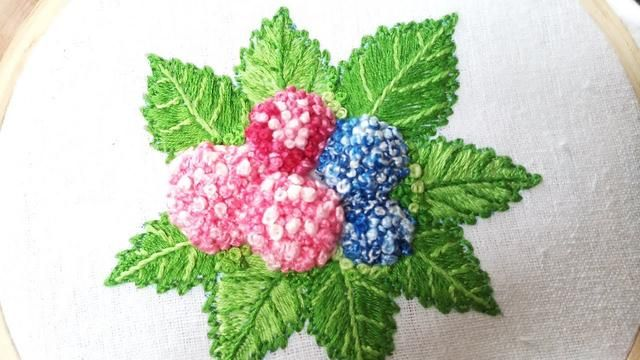 Hand Embroidery Of Hydrangea Flowers And Leaves Flower Embroidery Designs Hand Embroidery Designs Hand Embroidery