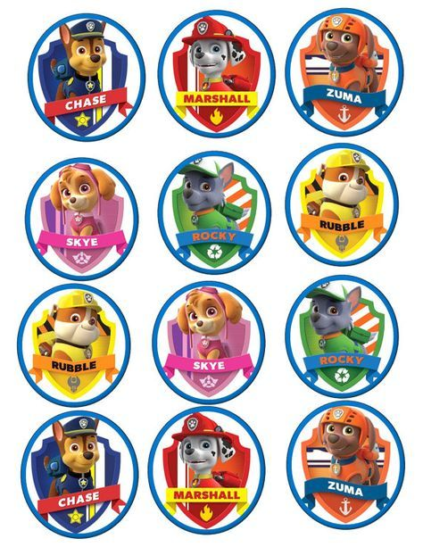 Paw Patrol Edible Cookie/Cupcake toppers by BakingDiva2 on Etsy