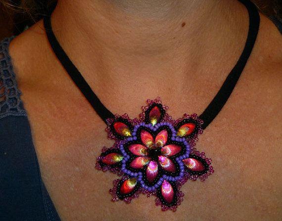 Handmade beads embroidery pendant/necklace   by IzabelaCichocka