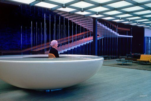 "1956. ""General Motors Technical Center, Warren, Michigan. Design Center interior with stair in background. Eero Saarinen, architect."""