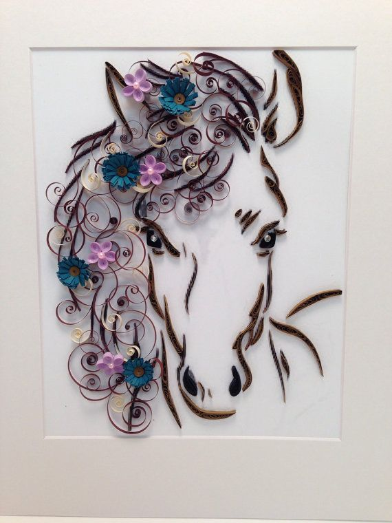 Paper Quilling Horse and Flowers Framed Art 11x14 by jgaCreations