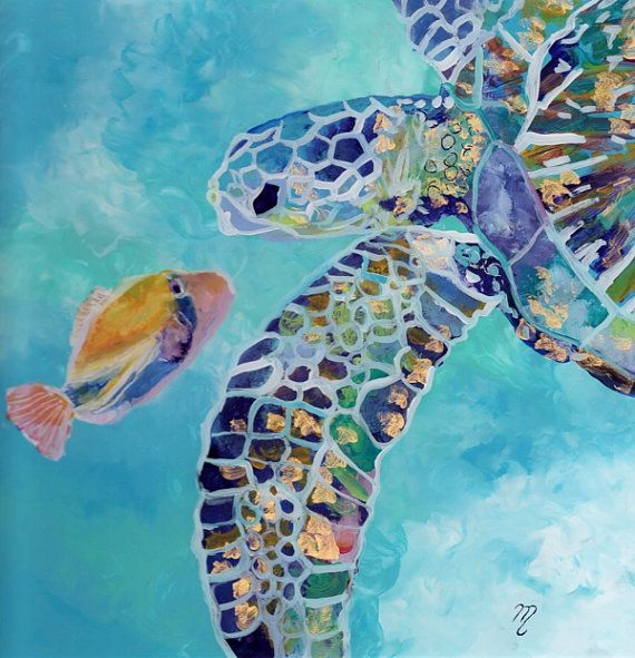 Sea Turtle and Fish Reverse Acrylic Painting by Marionette from Kauai Hawaii blue turquoise gold