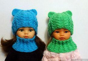 Комплект - шапочка Кошка и снуд, для кукол Паола Рейна и им подобных - https://babiki.ru/blog/work/95344.html