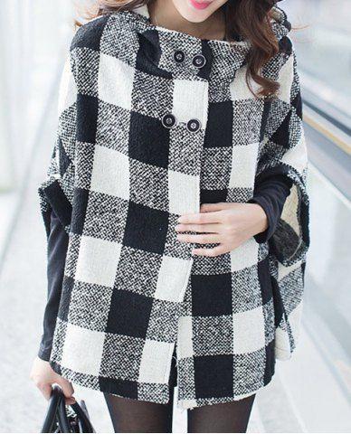 Hooded Plaid Caped Coat