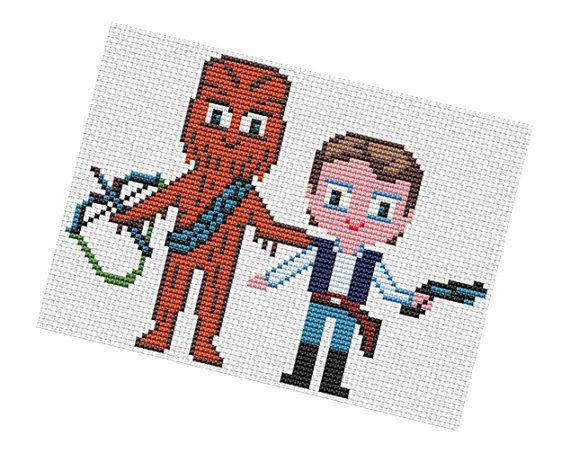 Han Solo and Chewbacca Parody #Cross #stitch #Pattern di POWSTITCH