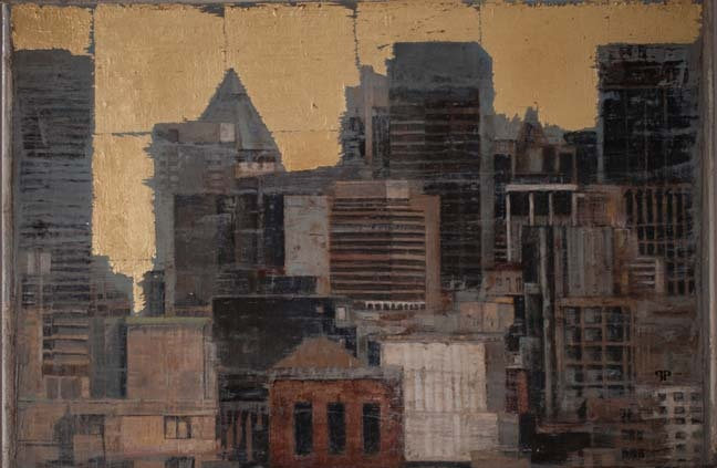 "Patrick Pietropoli, New York in Gold II, 2013, Oil & Gold on Linen, 20"" x 30"" #art #nyc #axelle"