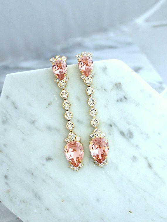 Bridal Earrings, Bridal Blush Earrings, Blush Pink ...