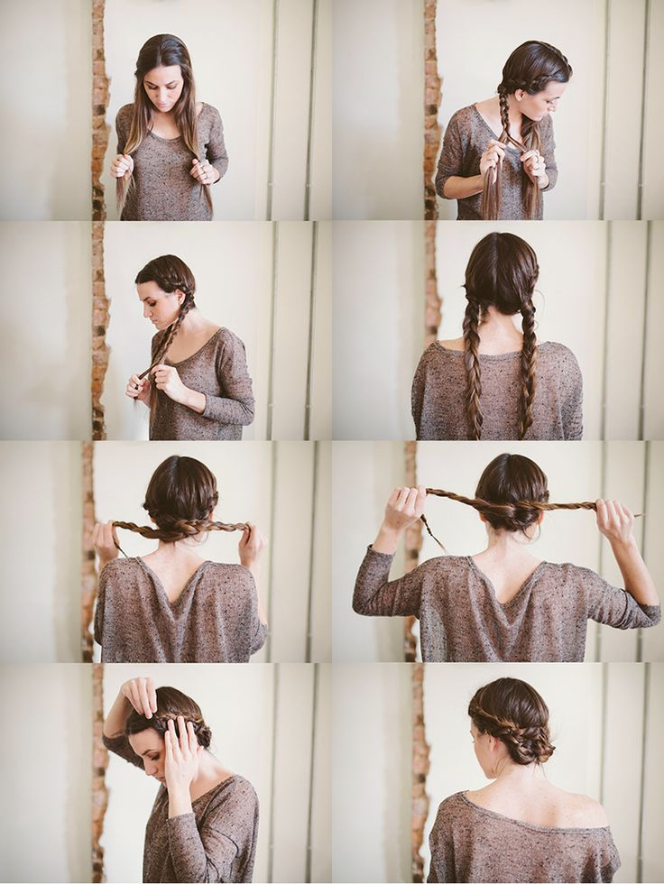 knotted bun maiden braid bun hair tutorial collage bmodish