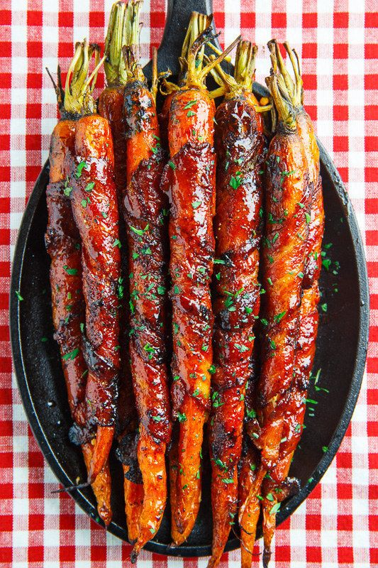 Roasted Maple-Glazed, Bacon-Wrapped Carrots