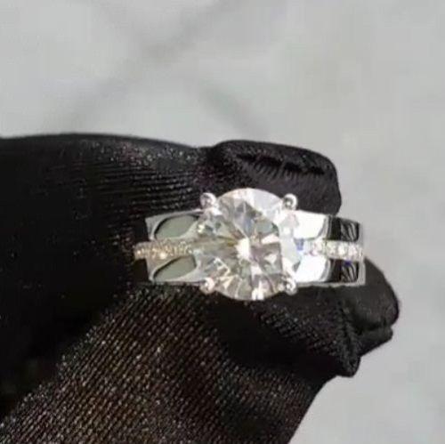 1.45 Ct Off White Moissanite Forever Solitaire Engagement Ring925 SterlingSilver