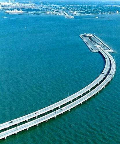 Bridge & tunnel over Chesapeake Bay, Virginia USA - the tunnel was constructed to allow vessels to enter the Norfolk Naval Base.