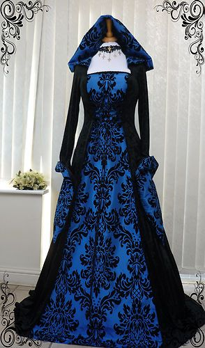 blue and black gothic whitby medieval wedding dress hooded