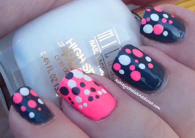 PolishAddicted: Grey and neon pink polka dots: Pink Polka Dots, Nails Art, Nails Design, Grey And Pink Nails, Ashley, Small Dots, Color Nails, Neon Pink, Dots Gradient
