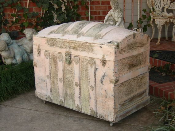 Shabby Antique Humpback Chest Trunk Chic by Red Barn Estates on Etsy, SOLD