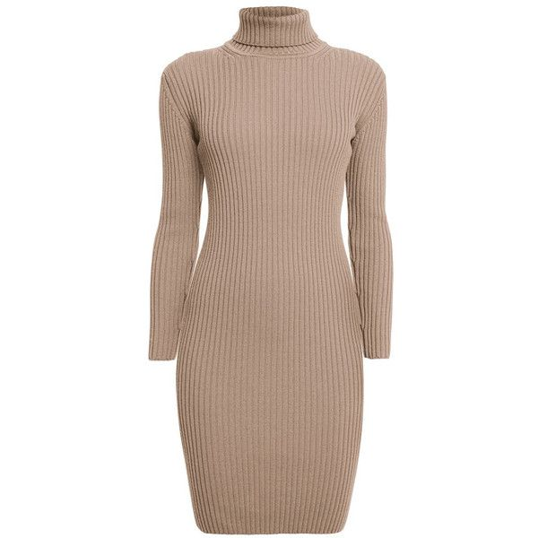 Rumour London - CLAUDIA Oatmeal Ribbed Turtleneck Dress found on Polyvore featuring dresses, ribbed turtleneck, turtleneck dress, stretch dress, brown turtleneck and slim fit dress