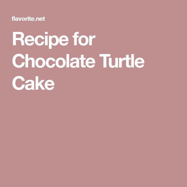 Recipe for Chocolate Turtle Cake