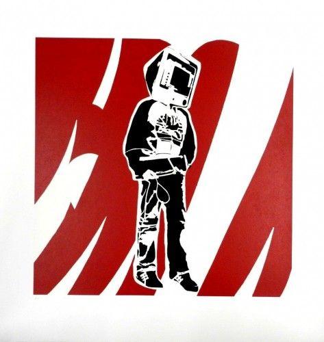 Computerman red 2008 Serigrafía 74x72 cm Autor: Blek Le Rat 3 Punts Galeria #arte #artecontemporaneo #art #contemporaryart