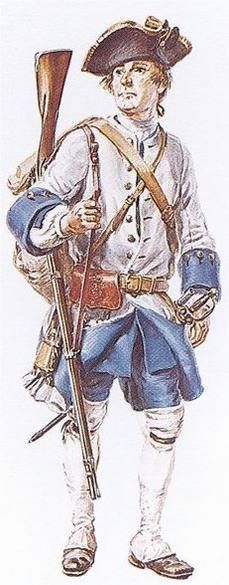 """Soldier of the Compagnies franches de la Marine in New France, between 1750 and 1755 - """"With his knapsack hanging at his back, and his musket slung from his shoulder, this common soldier of the Compagnies franches de la Marine must be on the march. Reconstruction by Eugène Lelièpvre."""""""