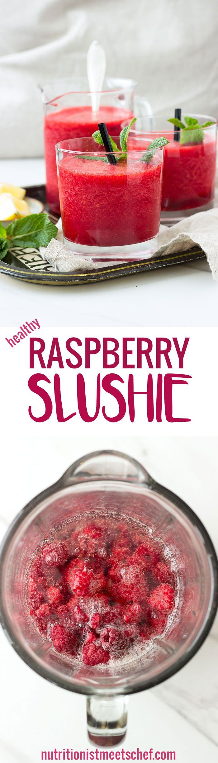 Healthy Raspberry Slushie - Only 4 ingredients are needed to make these healthy slushies that are slightly sweetened with honey! Get the recipe at nutritionistmeetschef.com
