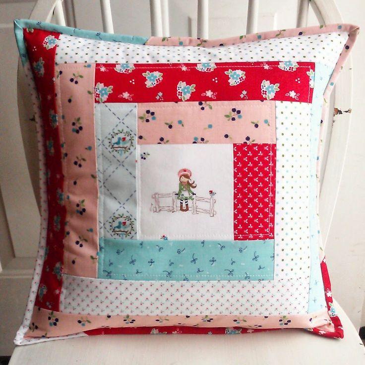 The 514 best images about patchwork pillow ideas on - Cojines de patchwork ...