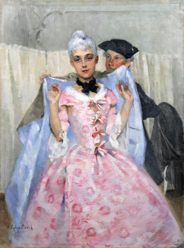 Helene Schjerfbeckin Naamiaiskuva, 1887, öljy kankaalle, on tavoittanut rokokoon keveyden ja hienostuneisuuden. Teos tunnetaan myös nimellä Rokokoonainen. Kuva Pohjanmaan museo / Erkki Salminen.