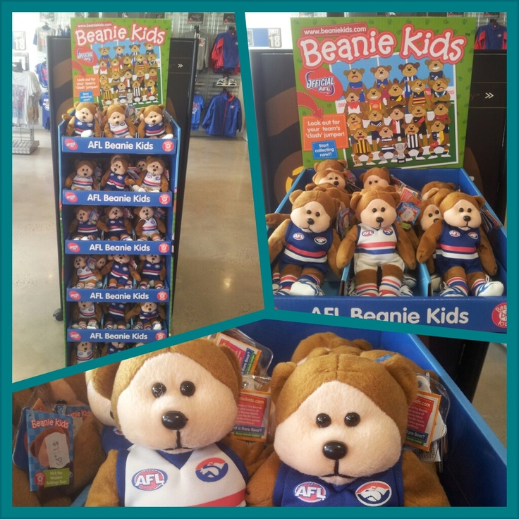 Western Bulldogs Beanie Kids have arrived en masse! Only $11.95 each. One in 6 Beanie Kids has a rare Clash Guernsey on!