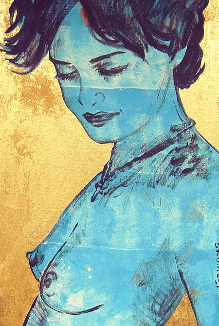 'Charlotte in blue' David Bromley That gold leaf