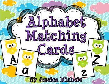 d alphabet themes  Alphabet Matching Cards {Owl Theme}