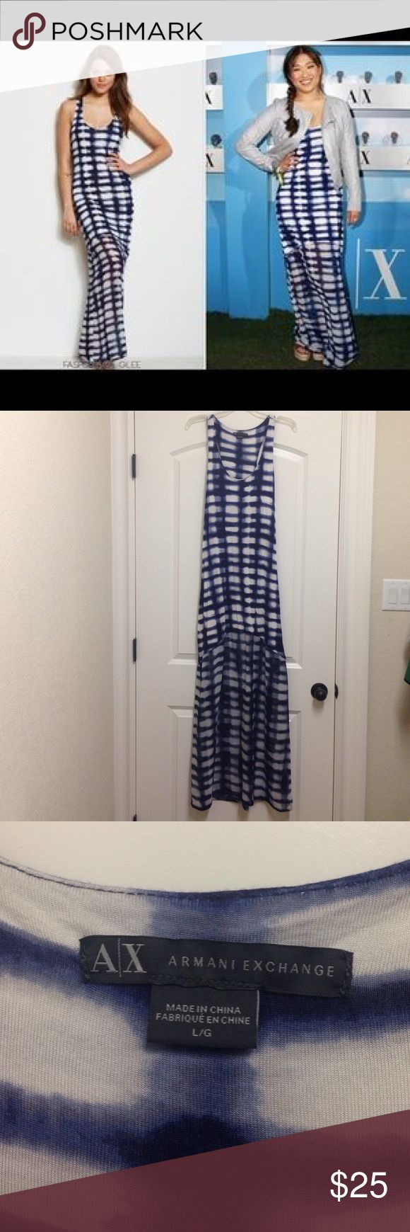 """Armani Exchange tie dye maxi dress - like new Beautiful full length maxi dress with built in shelf bra and sheer bottom (just above the knees). Super comfy resort style dress / can dress up or down / worn once / approx 61"""" long from shoulder to hem / final price A/X Armani Exchange Dresses Maxi"""