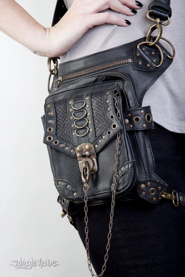 Blaster 3.0 Black Leather Hip Bag by Jungle Tribe by JungleTribe