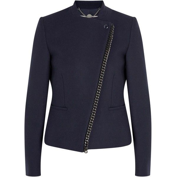 Womens Smart Jackets Stella McCartney Navy Chain-trimmed Wool Blend... (4.905 RON) ❤ liked on Polyvore featuring outerwear, jackets, stand collar jacket, stand up collar jacket, navy jacket, stella mccartney and stella mccartney jacket