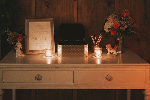 Guests at Lally and Kyle's wedding were encouraged to leave a favor behind...a sweet note tot he couple.  The writing station featuring our white vintage desk looks lovely lit by candlelight. *Paisley & Jade vintage & Eclectic Furniture Rentals for Events, Weddings, Theatrical Productions & Photo Shoots*