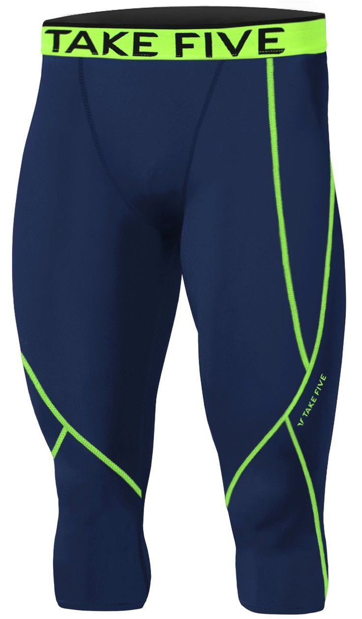 New Men Sports Apparel Skin Tights Compression Base Under Layer Capri Pants (L, NP521 NAVY). Men's Sports Apparel Compression Capri Pants made using Take Five technology. Compression fit bolsters muscle support and increases circulation. UVA/UVB Protection - Take Five compressoin protects your skin from UVA/UVB radiation during your outdoor workout. Great for skiing, snowboarding, training, competing, and all weather sports and activities. Machine washable.