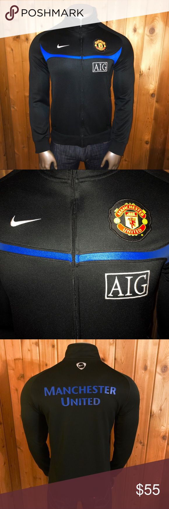 Official Nike Manchester United Training Jacket Size: U.S. Men's Large  Color: Black/Blue Brand: Nike Official Authentic Nike Manchester United FC Football/Soccer Training Full Zip Track Jacket  Excellent Condition! No rips, stains, tears, pulls, pills, fading or cracking.  Jacket comes from a smoke and pet free home  Thanks for looking! Nike Jackets & Coats Performance Jackets