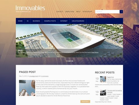 Immovables is excellent choice for those looking for WordPress theme for personal website. It supports and comes with custom widgets, drop-down menus, javascript slideshow and lots of other useful features.
