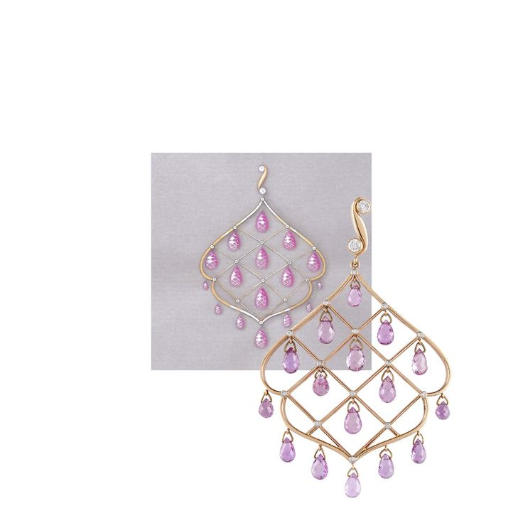 Pink sapphire and rose gold moghul inspired earrings, shown next to the working drawing.