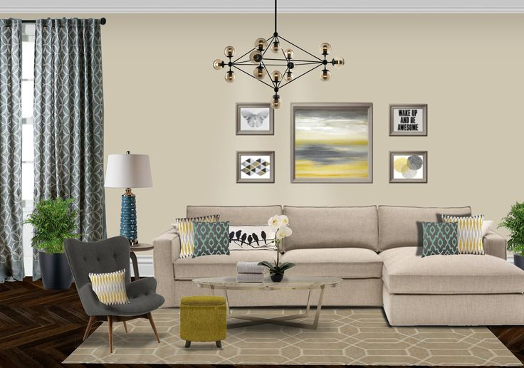 living room contemporary photoshop yellow