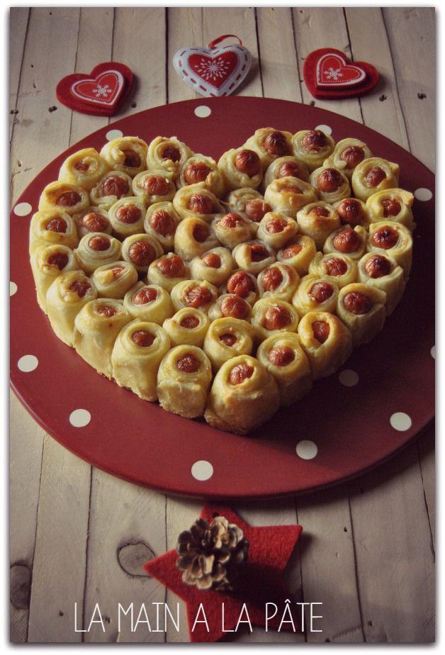 Coeur feuilleté aux petites saucisses (en sapin pour Noel)