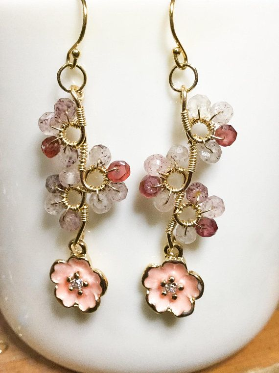 Strawberry Quartz Cherry Quartz Earrings
