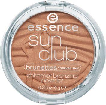 sun club terra abbronzante viso effetto shimmer pelle chiara / pelle scura 20 brunettes - essence cosmetics
