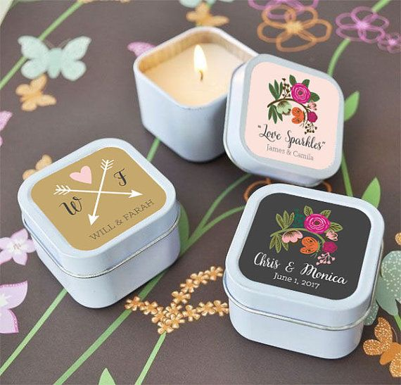 Mini Candle Wedding Favors will bring a little life to your rustic country table decor. Each white tin candle is the perfect size for party favors....