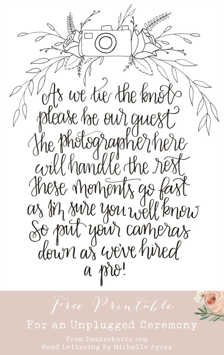 Unplugged Ceremony Sign // Denise Karis Blog // Michelle Ayres Design // Free Wedding Printable