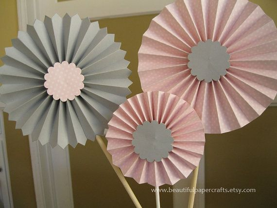 Pink and Gray Rosette Centerpieces,  Pink and Gray Baby Showers, Bridal Shower Paper Fans -  Candy Buffet Decorations