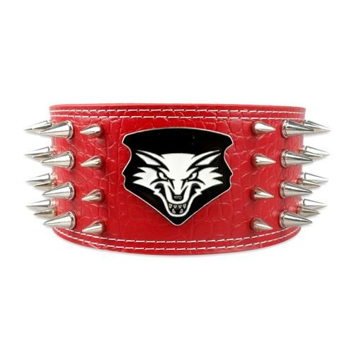 "Collar- 4 Rows Sharp Spiked Dog Collar Soft Leather 3"" Width for Large Breeds"