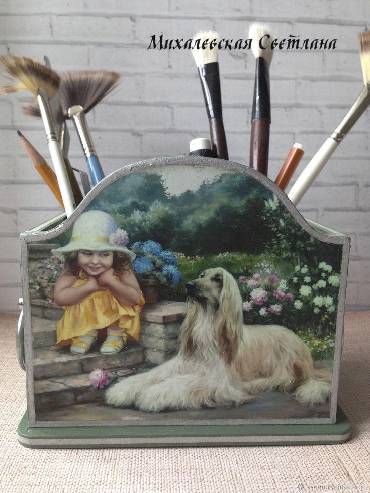 Купить деревянная карандашница подставка Год собаки декупаж в интернет магазине на Ярмарке Мастеров