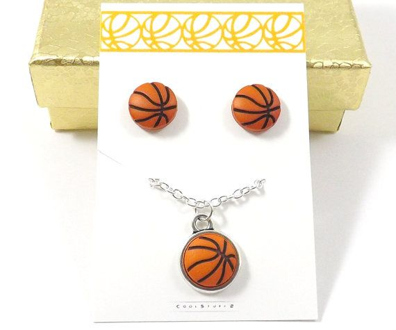 Basketball Earrings and Basketball Necklace Set, Basketball Jewelry Set, Basketball Stud Earrings, Tiny Basketball,  Basketball Jewelry, Mom
