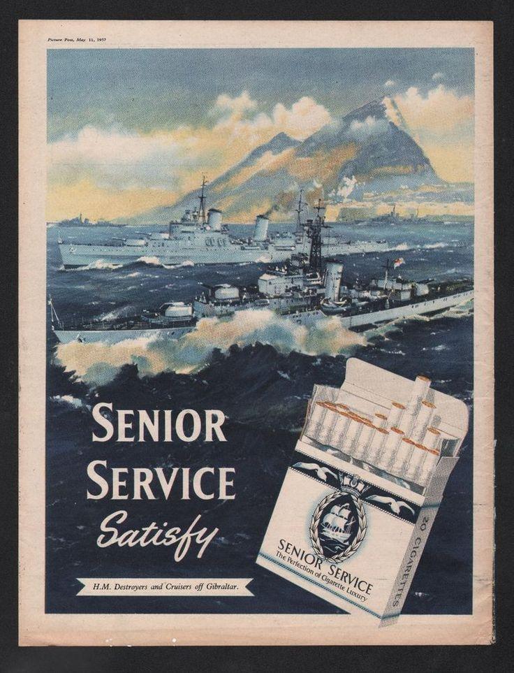 SENIOR SERVICE CIGARETTES  THREE FULL PAGE LARGE FORMAT  MAGAZINE ADVERT 1950s   | eBay