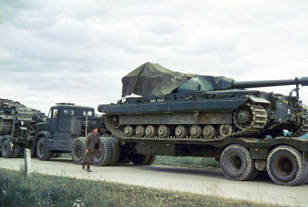 A Conqueror loaded on an Antar Mk 2 - late 1950's