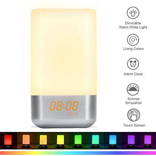 Lampe de Chevet avec Contrôle Tactile Rechargeable reveil enfant 5 Nature Sonneries Lumiere du Jour,Veilleuse 3 Niveaux de Luminosité et…